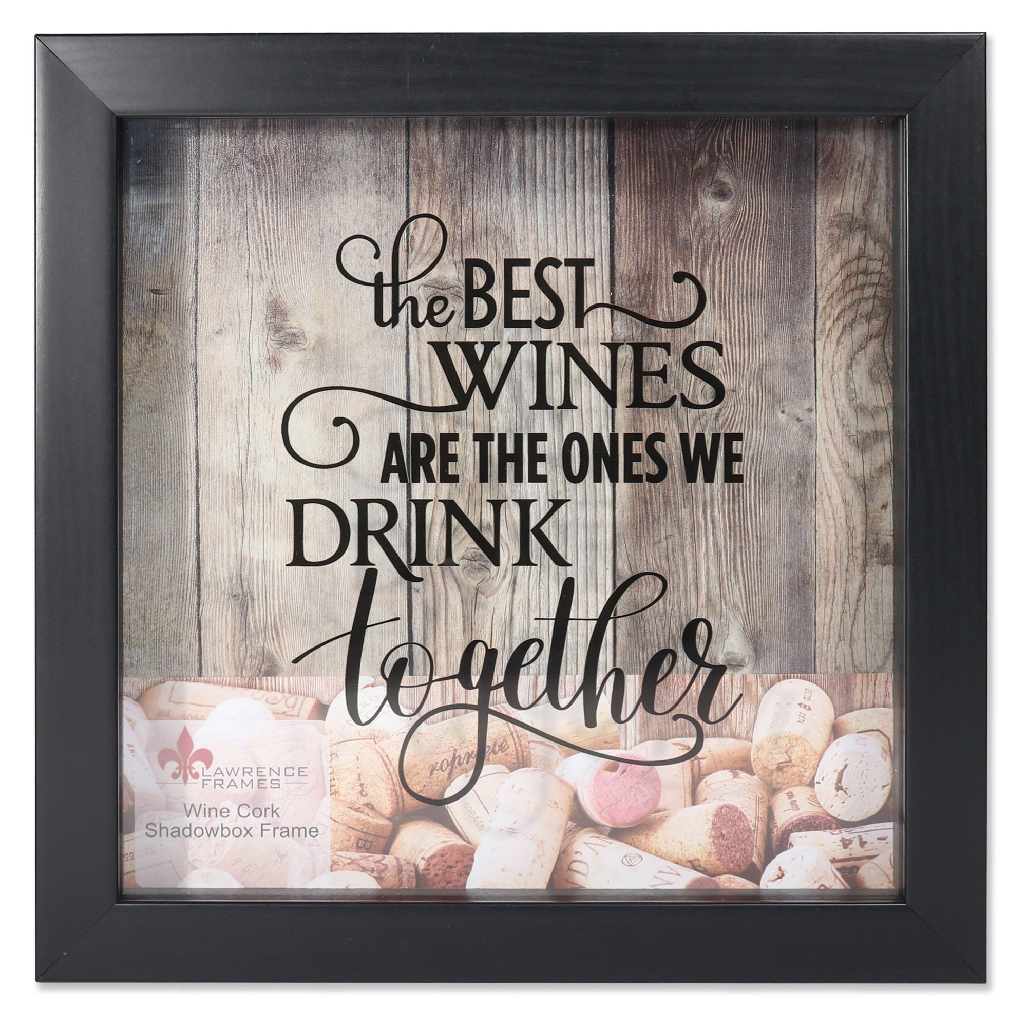 Lawrence Frames 10x10 Black Shadow Box Wine Cork Holder Black