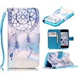 5c Case, iphone 5c Case, ArtMine Dream Catcher PU Leather [Wristlet] Wallet Pouch Phone Case with Wrist Strap and Credit/ID Card Cash Slot for Apple iphone 5c