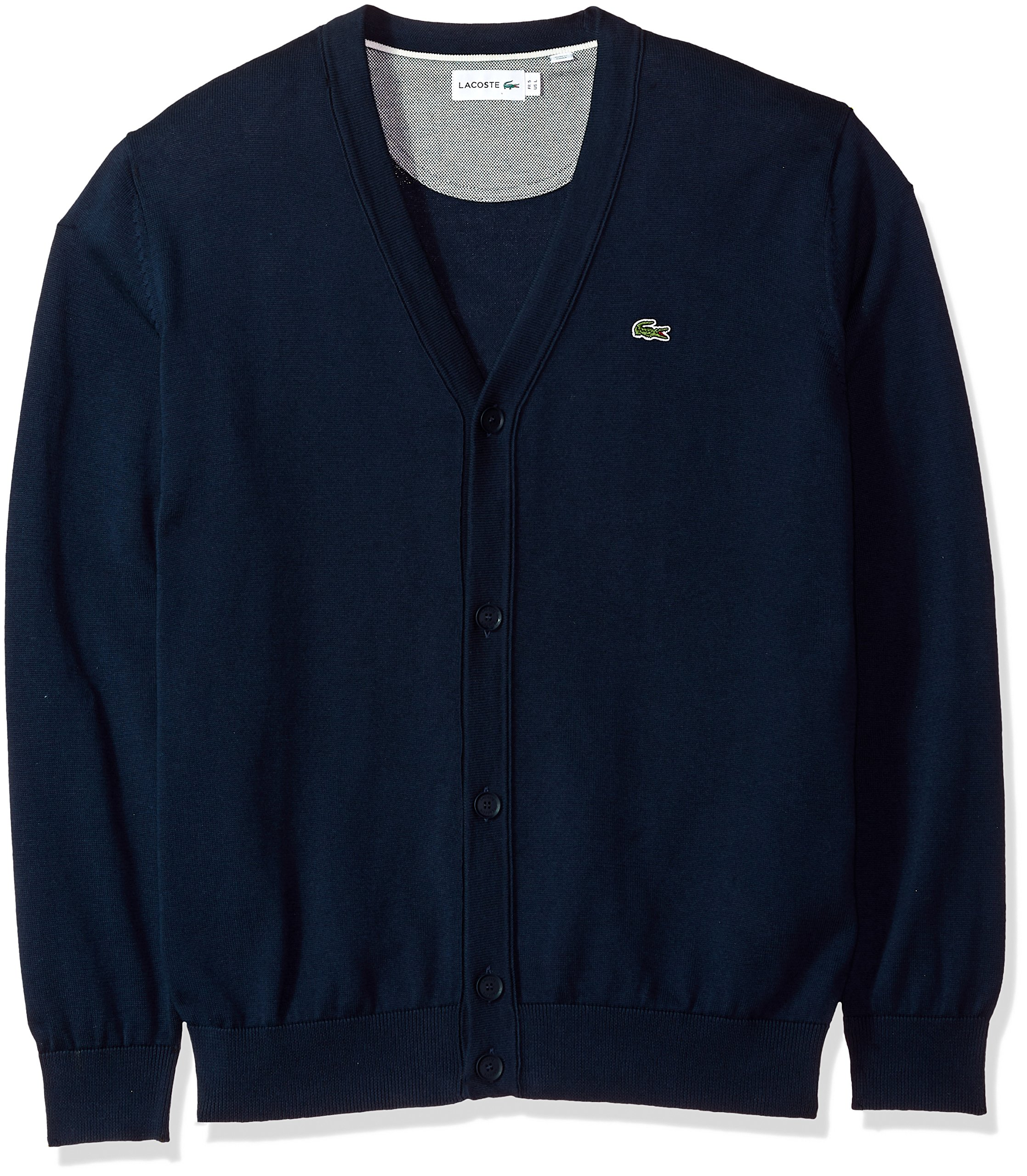 Lacoste Men's Long Sleeve Jersey Cardigan Sweater, Ah4564, Navy Blue/Cake/Flour White, 6