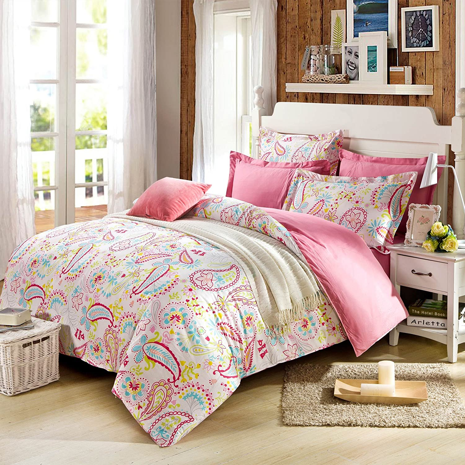 Amazon com  Cliab Paisley Bedding Pink Twin Or Queen For Teen Girls Duvet  Cover Set 100  Cotton 5 Pieces Size Optional   Home   Kitchen. Amazon com  Cliab Paisley Bedding Pink Twin Or Queen For Teen