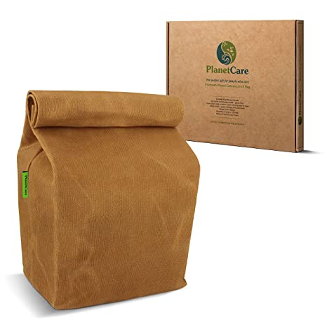 fd27ae51daa6 PlanetCare PREMIUM Waxed Canvas Lunch Bag  ECO-FRIENDLY lunch bag for kids