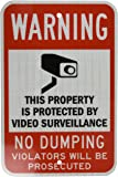 """SmartSign 3M High Intensity Grade Reflective Sign, Legend """"Warning: Video Surveillance No Dumping"""" with Graphic, 18"""" high x 12"""" wide, Black/Red on White"""