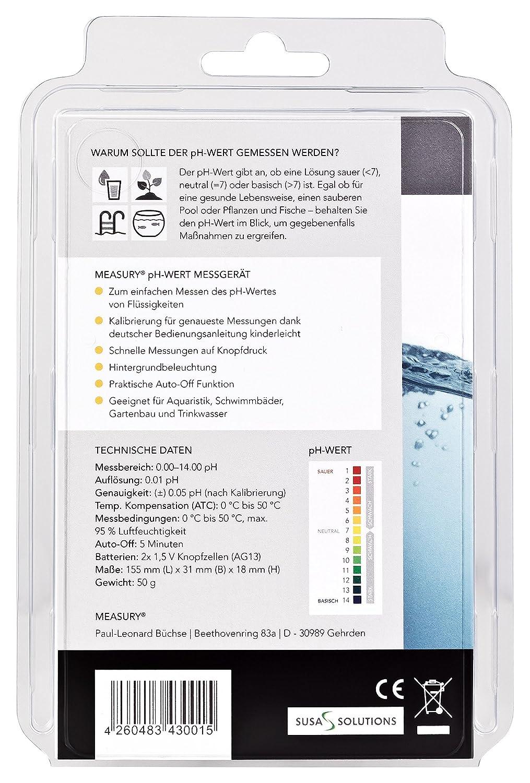 MEASURY pH Messgerät mit ATC für das Aquarium, pH Tester für Urin ...