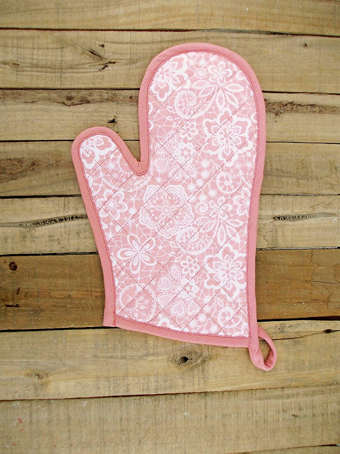 """VLiving Coral Pink Glove Quilted Oven Mitts Lace Print Kitchen Accessory 100% Cotton Size 8""""x13"""" (Coral Pink)"""