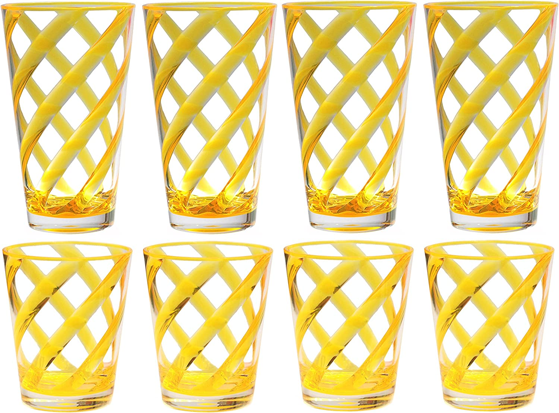 QG 8-Piece 16 oz & 22 oz Neon Yellow Stripes Acrylic Iced Tea Cup with Clear Heavy Base Plastic Tumbler Set