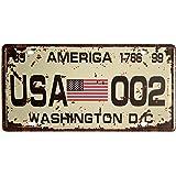 American Flag Washington D.C. 002 Retro Vintage Auto License Plate Tin Sign Embossed Tag Size Home Pub Bar Decor 6 X 12