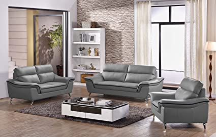 Amazing Amazon Com Matisse Elin Leather Sofa Set Dark Gray Alphanode Cool Chair Designs And Ideas Alphanodeonline