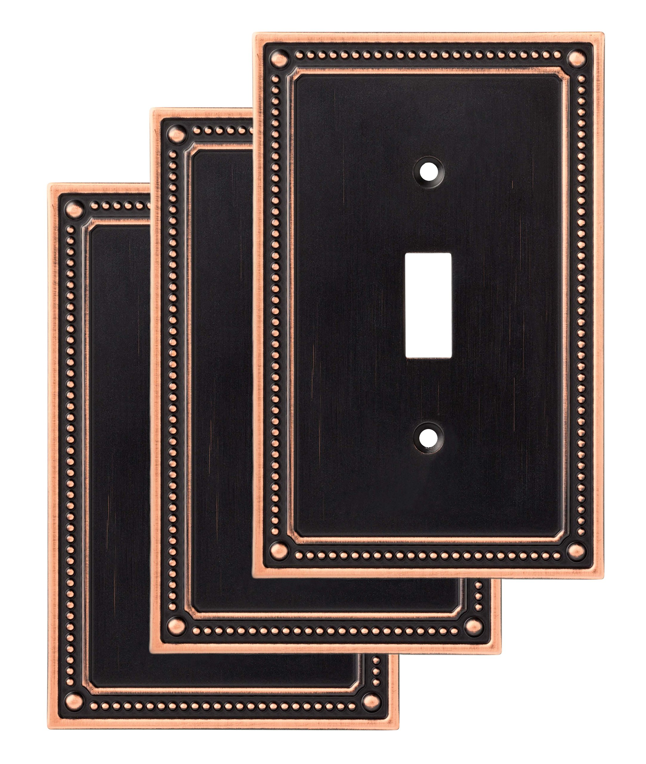 Franklin Brass W35058V-VBC-C Classic Beaded Single Switch Wall Plate/Switch Plate/Cover (3 Pack) Bronze with Copper Highlights