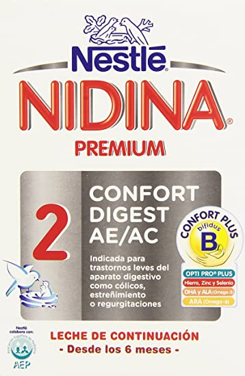 Nestlé Nidina 2 Premium Confort Digest AE/AC Leche de Continuación, en Polvo - 750 gr