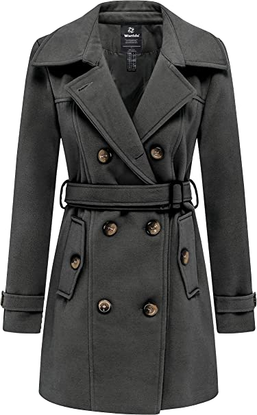 Wantdo Damen Winterdicke Jacken Warme Winddicht Jacke Wollmischung Erbsenm/äntel Zweireihige Mittellange M/äntel Slim Fit Cabanjacke mit Schulterklappen