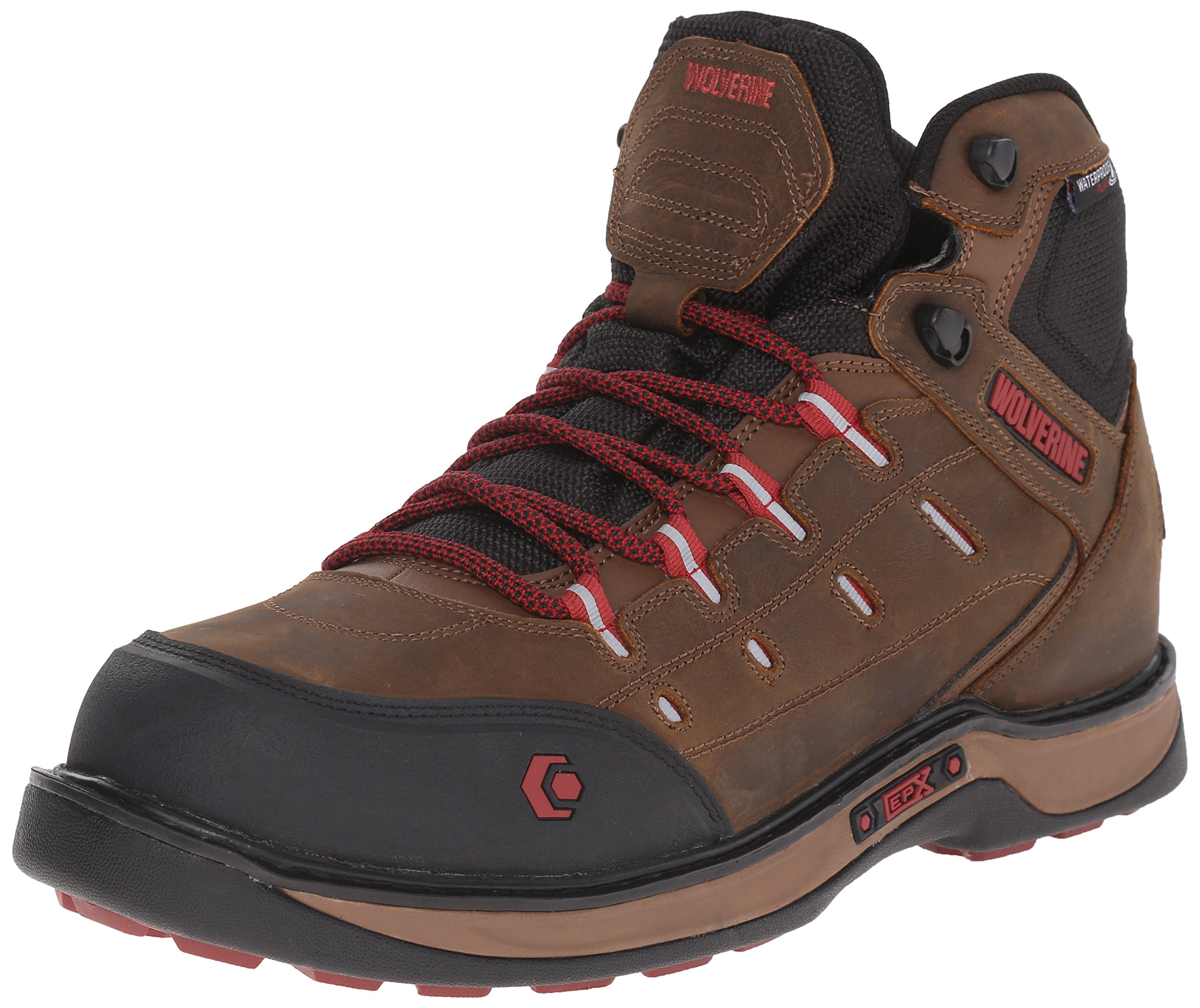 Wolverine Men's Edge LX Nano Toe Work Boot, Brown/Red, 14 M US