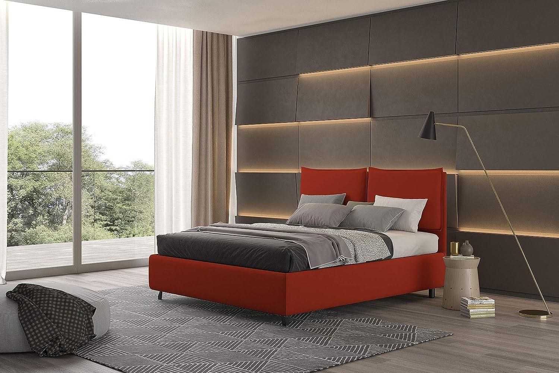 PIAZZAEMEZZ Talamo Italia Letto Contenitore Piazza e Mezza Bach rosso Ecopelle Made In Italy 139 x 115 x 208