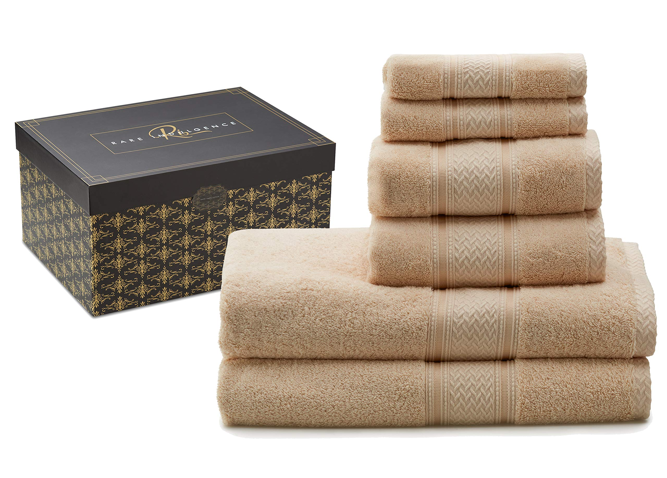 Rare Indulgence 100% Egyptian Cotton Extra Large 6 Piece Luxury Hotel Quality Towel Set 880 Gram.Beautiful Gift Boxed Perfect for Your Home or Housewarming, Christmas, Wedding, Engagement Present. by Rare Indulgence