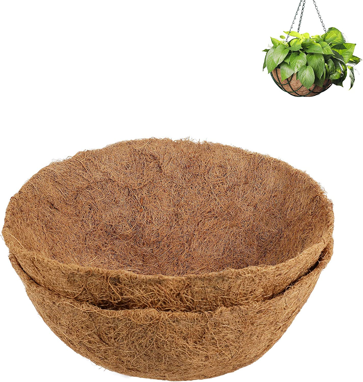 SPiTech 2PCS Coco Liner 14 inch for Hanging Basket, Extra Thick Coconut Fiber Planter Liner for Garden Flower Pot (14 inch)
