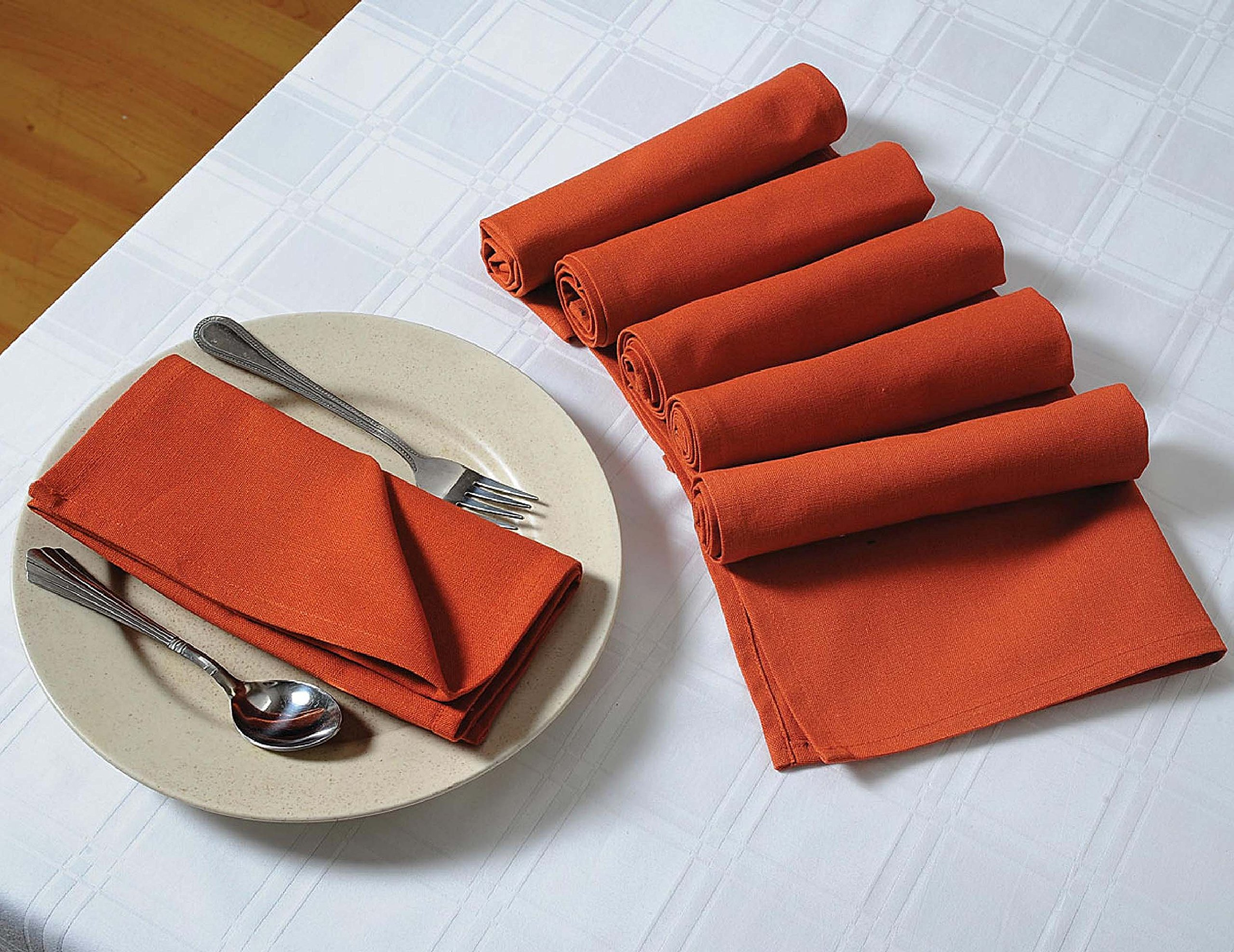 ShalinIndia Solid Colored Cloth Dinner Napkins - 20'' x 20'' - Rust - Yellow - Set of 6 - Perfect for Weddings & Dinner Parties
