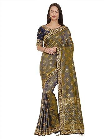a66fa1c53 Indian Women multi color banarasi silk jacquard Saree  Amazon.in  Clothing    Accessories