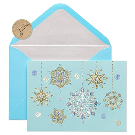 papyrus hanging snowflakes holiday cards boxed with silver foil lined blue envelopes 12 - Papyrus Holiday Cards