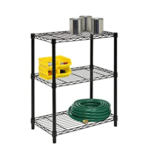 Honey-Can-Do 3-Tier Heavy Duty Adjustable Shelving Unit Black