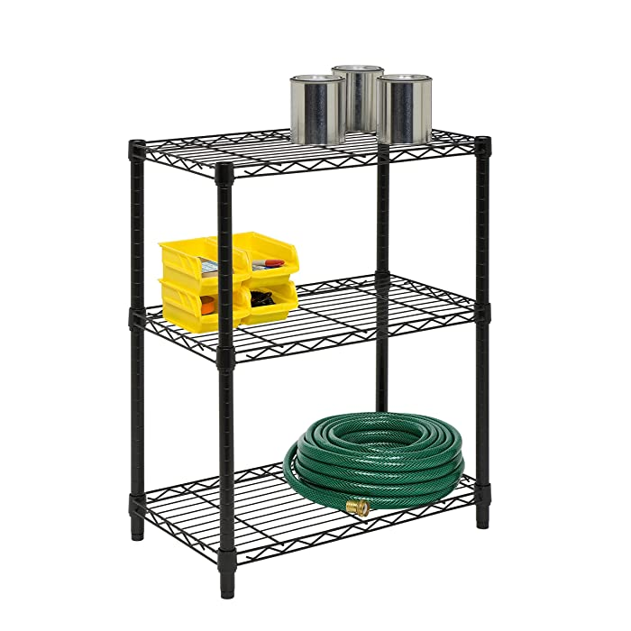 Honey-Can-Do 3-Tier Heavy Duty Adjustable Shelving Unit Black