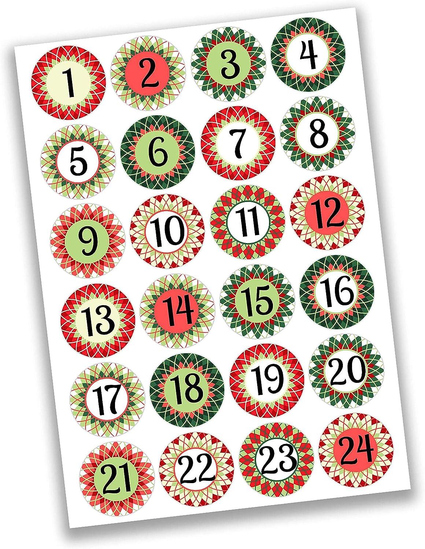24 Autocollants avec num/éro pour Calendrier de lAvent Fille Rose Menthe Nr 24 pour cr/éer ou d/écorer Autocollants