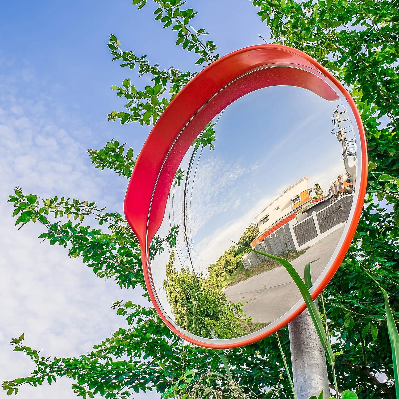 Relaxdays 10023700 Verkehrsspiegel 60 Cm Wetterfest Unzerbrechlich Innen Außen Mit Halterung Sicherheitsspiegel Rot Standard Auto