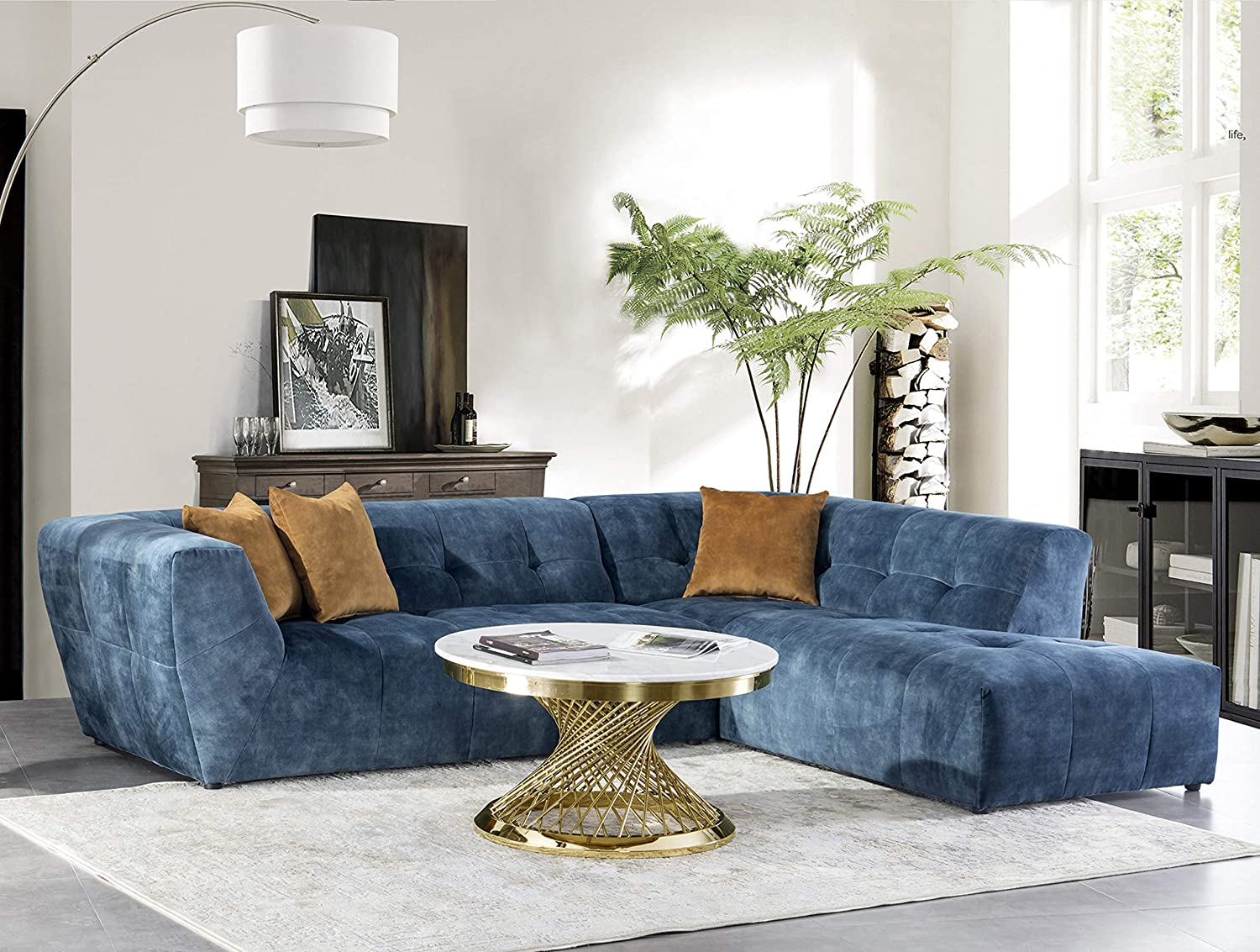 Acanva Luxury Mid Century Tufted Low Back Right Facing Sectional Sofa L Shape Couch Navy Blue Amazon Ca Home Kitchen