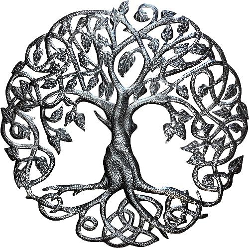 Old Duga – Haitian Metal Drum Art – 23 inch Celtic Tree of Life – Natural