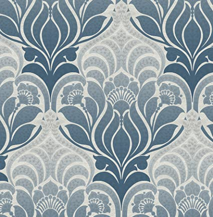 FD22425 - Azmaara Navy Blue, Grey Damask Fine Decor Wallpaper ...