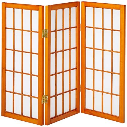 Prime Oriental Furniture 2 Ft Tall Desktop Window Pane Shoji Screen Honey 3 Panels Home Interior And Landscaping Ologienasavecom