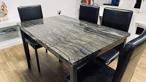 7 Star Furniture Marble Effect MDF Black, Grey or Brown Dining Table with Optional 4/6 Faux Leather Chairs (120cm Table only, Charcoal Grey)