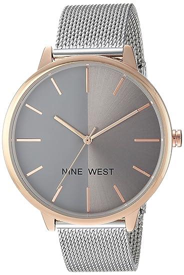 Amazon.com  Nine West Women's NW 1981GYRT Silver-Tone Mesh Bracelet Watch   Watches 688f925264b0
