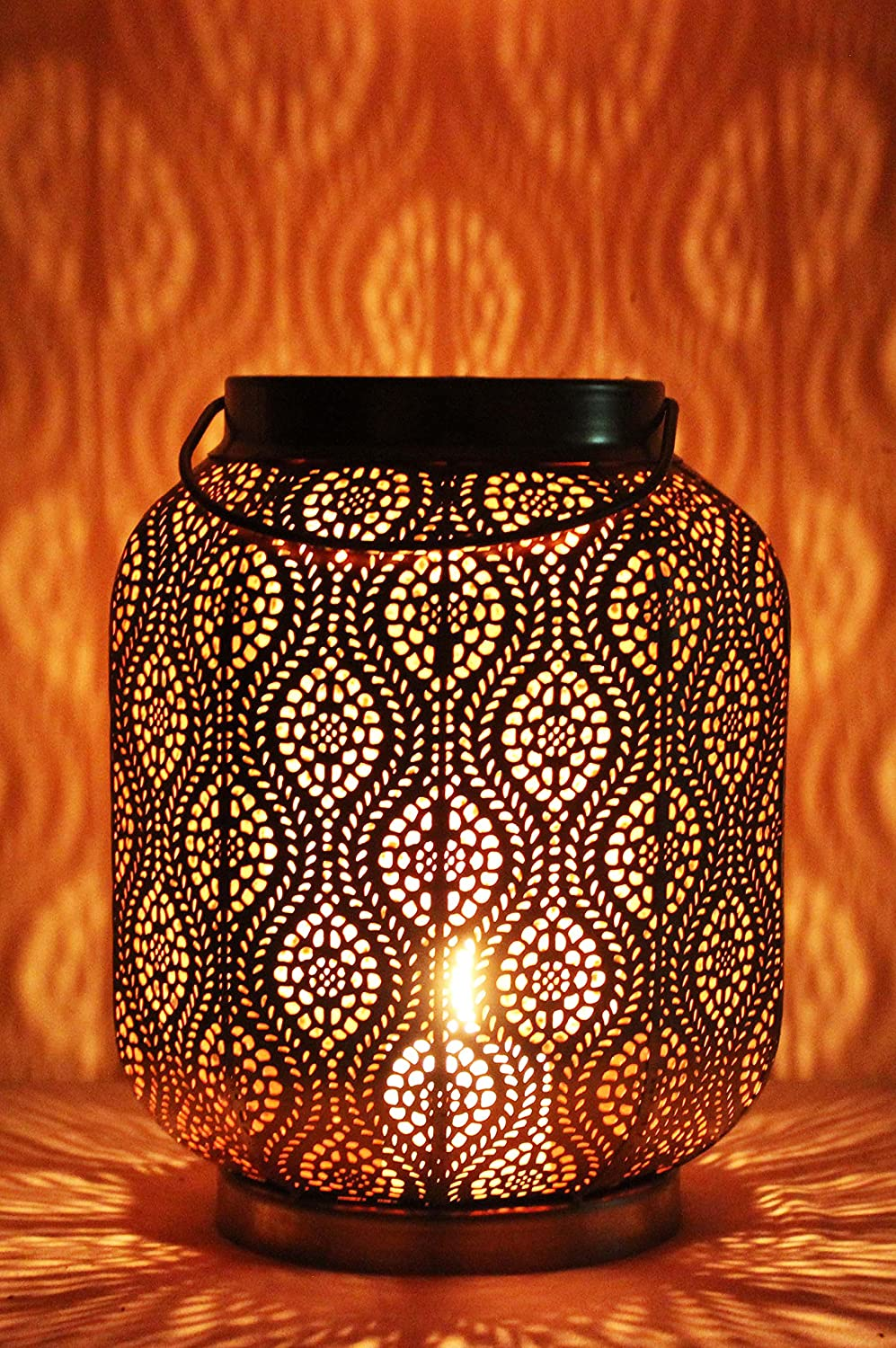 Moroccan Vintage Lantern Lights Lamp Baghira 26cm Black Large | Oriental Garden Outdoor Hanging Lanterns for Candles as Decorations | Arabian Indoor Candle Tea Light Holders as Indian Party Home Decor