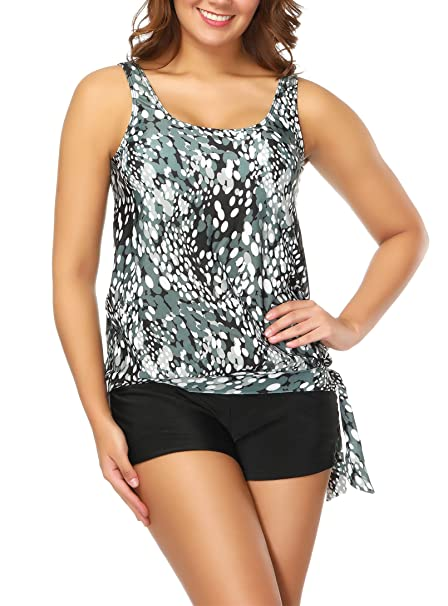 ea6b8ecd1f033 American Trends Women s Plus Size Floral Retro Polka Dot Tankini Set Two Piece  Swimsuit Plus Size