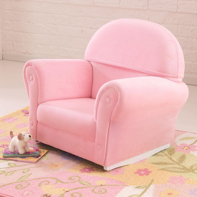 amazon com kidkraft upholstered rocker with slip cover pink