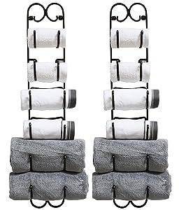 DecoBros 2 Pack Wall Mount Multi-Purpose Towel/Wine/Hat Rack,Bronze