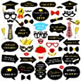 Konsait Graduation Photo Booth Props (50Count), Large Graduation Photo Props Class of 2018 Grad Decor with Sticks for Kids Boy Girl, Black and Gold, for Graduation Party Favors Supplies Decorations