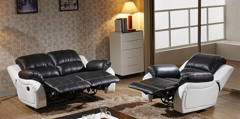 Voll-Leder Sofagarnitur Fernsehsofas Relaxsofas 5129-2+1-SW