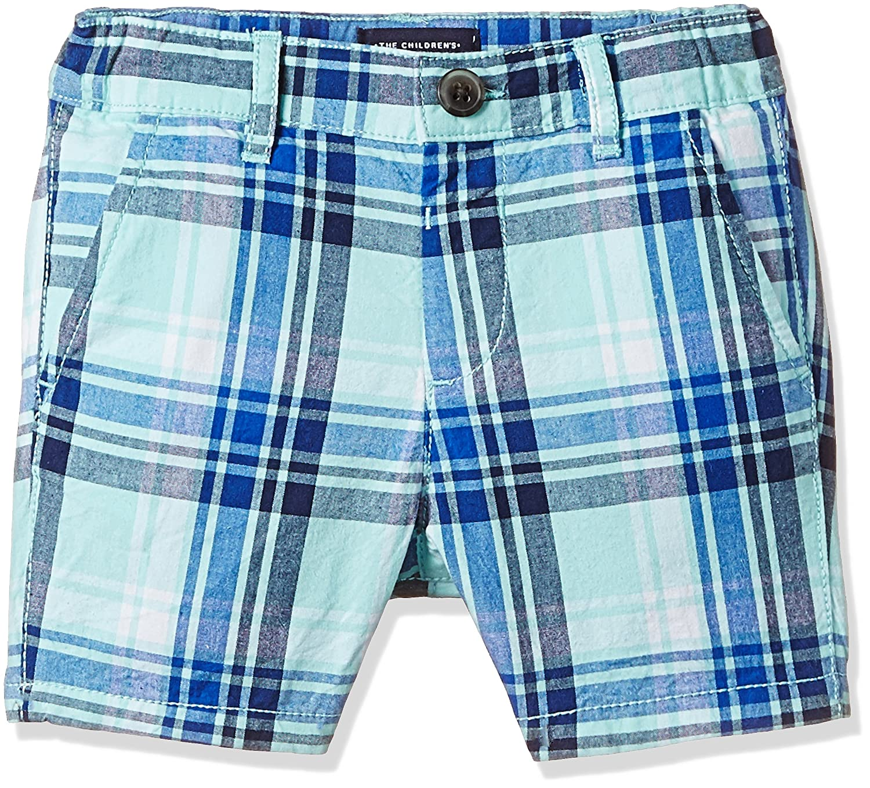 The Children's Place Baby Boys' His Li'l Plaid Flat Front Shorts Mellow Aqua 3T The Children's Place 2078291002