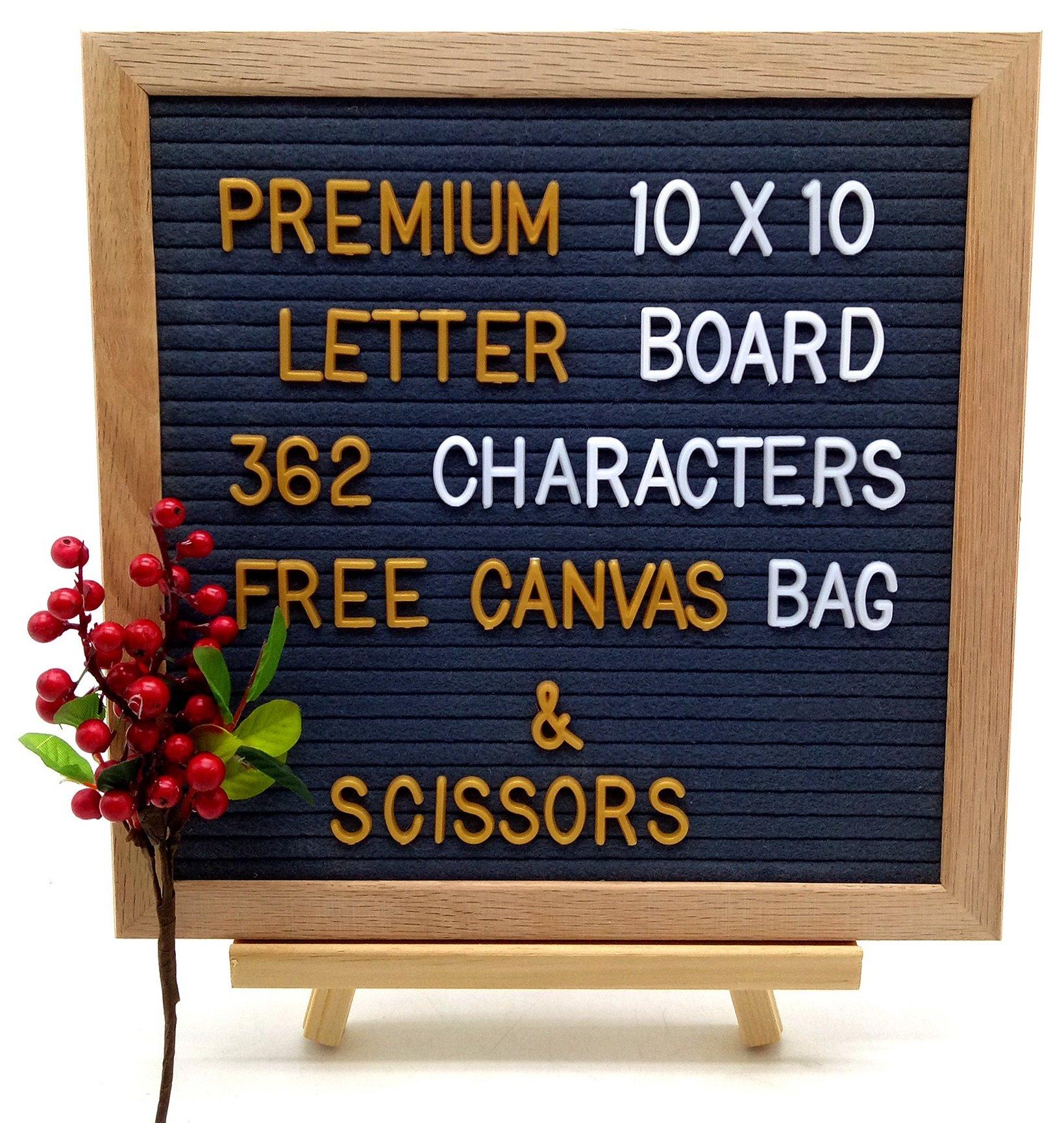 Felt Letter Board Changeable 362 Character & Symbol Set (Oak Wooden Frame 10''x10'')