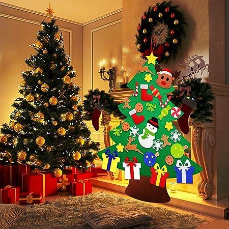 Árbol de Navidad de Fieltro DIY HusDow con 31 adornos navideños Árbol Navideño Familiar 3D de 97 cm Árbol de Navidad para Niños y Pequeños Decoración Navideña para Puertas Ventanas y Paredes: