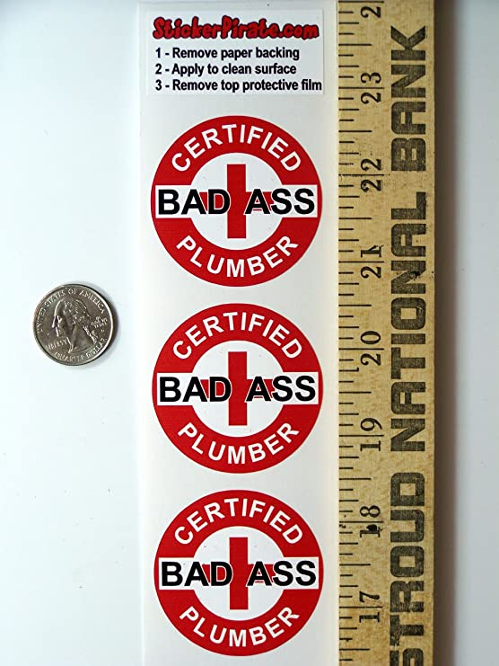 """Red Certified Bad Ass Plumber 2"""" Hard Hat 3 Helmet Stickers H720"""