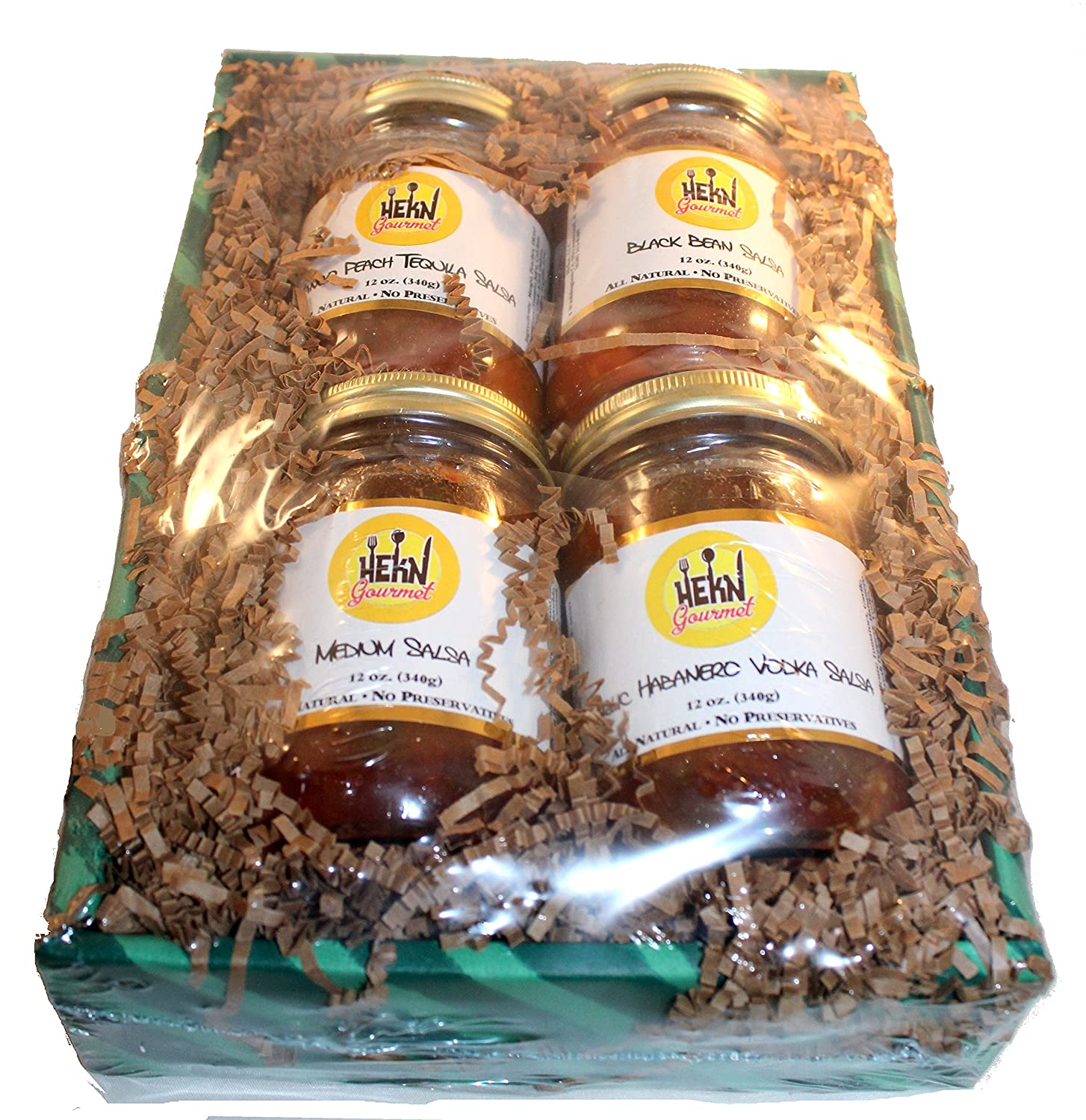 Amazon.com: HEKN Gourmet Salsa Gift Set (Mango Peach Tequila, Garlic Habanero Vodka, Medium Salsa and Black Bean) All Natural, No Preservatives