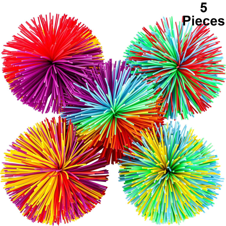 Leinuosen Monkey Stringy Balls Sensory Fidget Stringy Balls Soft Rainbow Pom Bouncy Stress Balls, Multicolor (5 Stück)