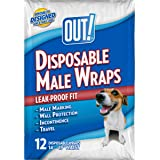 OUT! Disposable Male Dog Diapers, 12 count, Medium – Fits 14 inch to 19 inch Waist