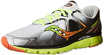 Saucony Men's Kinvara 6 Running Shoe, White/Citron/Orange,7.5 M US