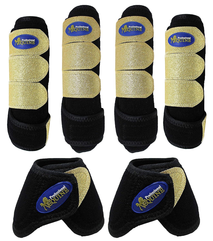 (Medium-Front and Rear Splint and Bell, Black gold) Horse Medium Professiona Equine Sports Medicine Boots 4142-57