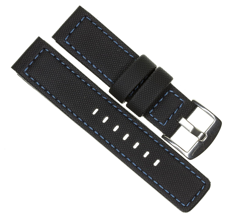 20 mm maratac EliteシリーズブラックPVCラバーストラップDiver WatchバンドブルーステッチケブラーXL Large x1  B07CKJCXSX