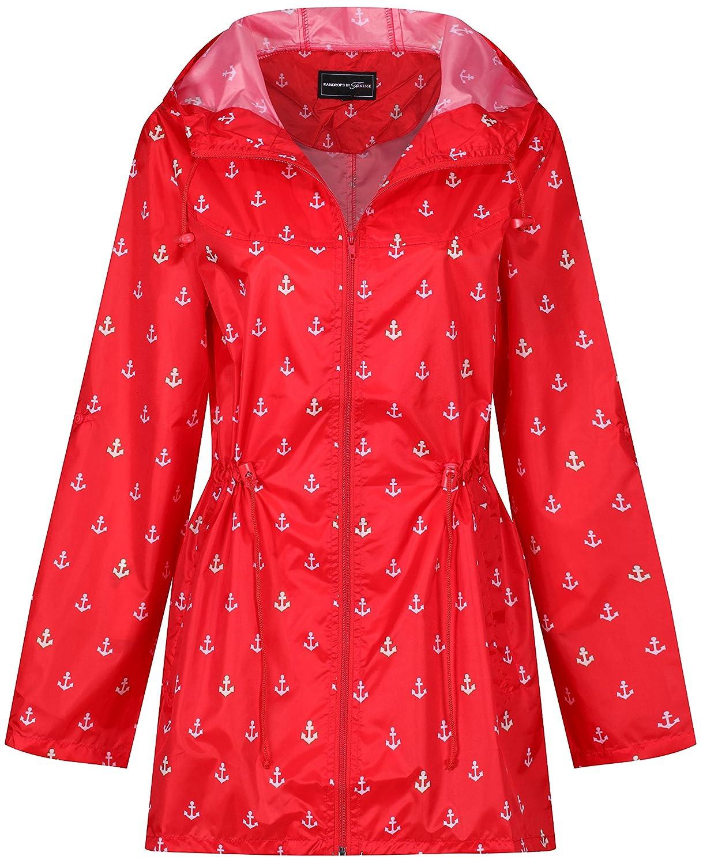 Ladies Women Rain Mac Raincoat Showerproof Fishtail Kagool Kagoul Festival Parka Jacket Hooded Lightweight Shower Proof Rain Coat Rainmac Plus Sizes 8 to 26 - by KALCO Toys UK ®