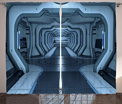 Ambesonne Outer Space Decor Collection Inside Of Station Control Room Passage Communication Base Monochromatic