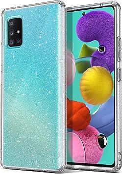 ULAK Coque Samsung Galaxy A51 Paillettes, Transparente Galaxy A51 Étui Housse Souple Bumper TPU Protection Antichoc Anti-Rayures Coque pour Samsung ...
